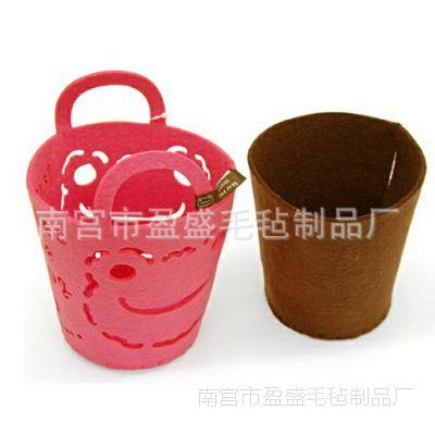 厂家生产 各种颜色 各种图案 毛毡收纳桶