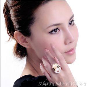 供应600150欧美夸张个性眼泪款 面具京剧脸谱彩釉戒指 女指环