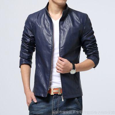 供应批发厂家直销男装 男士韩版休闲皮衣男 蓝色 黑色 红色 3色