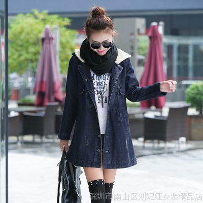 韩国定制大码女式风衣 韩版时尚学院风牛仔外套 春秋中长款