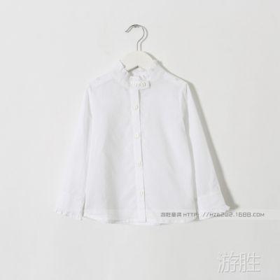 51g011110  女童长袖衬衣 衬衫  白色 外贸童装  批发  新品