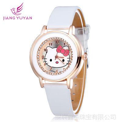 厂家货源批发顾典GoGoey时尚潮流休闲手表满钻KT猫学生女款腕表