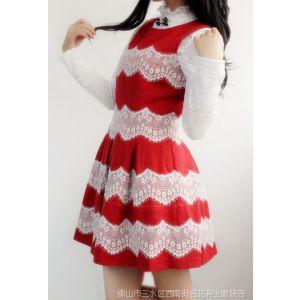 供应vintage复古优雅淑女蕾丝拼接收腰修身秋冬毛呢背心裙连衣裙L412