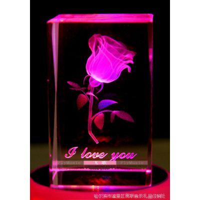 飞歌 3D发光旋转水晶音乐盒八音盒 生日礼物创意礼品玫瑰花 批发