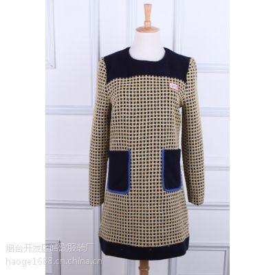 2015春季新款韩版高端女装品牌毛呢连衣裙 长袖千鸟格显瘦连衣裙
