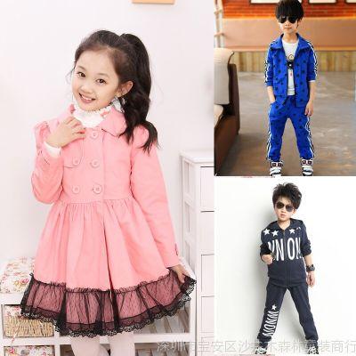 【伙拼组货款】女童风衣 女童童外套 中大韩版蕾丝风衣 童装批发