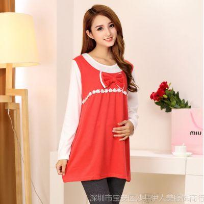 2014秋季韩版新款长袖孕妇上衣 假二件套孕妇装连衣裙秋装