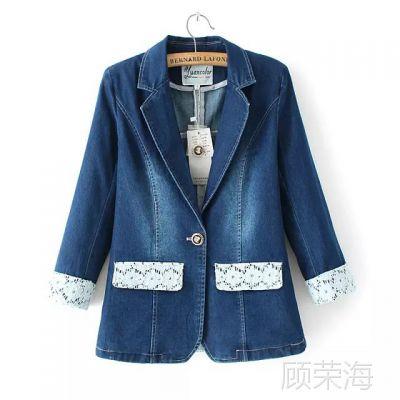 Han1521牛仔外套女装新秋款韩版潮蕾丝拼接短款牛仔小西装女外套