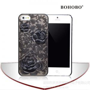 供应iPhone 5G PC壳立体玫瑰花浮雕手机保护壳喷油保护套