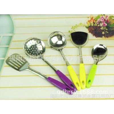 不锈钢 锅铲 彩色 夹柄1厘 厨具套装 全套勺铲子 创意汤勺大漏勺