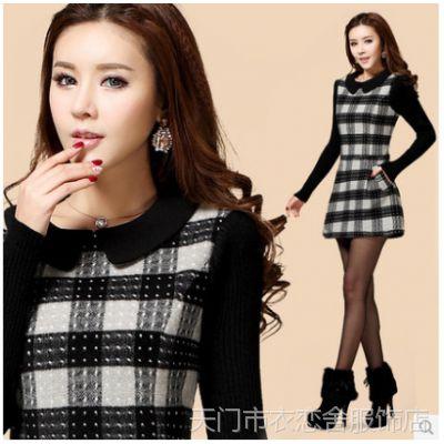 优质 2015新款韩版大码修身A字短裙打底裙格子羊毛呢长袖连衣裙