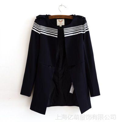 2014夏季欧美风 现货VM同款海军风缺口条纹女风衣大衣外套批发