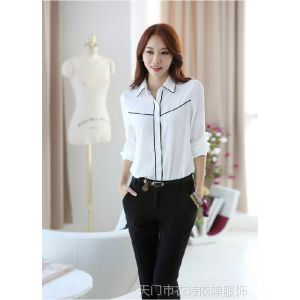 供应2014新款韩版职业女装修身打底衫 翻领拼色衬衫