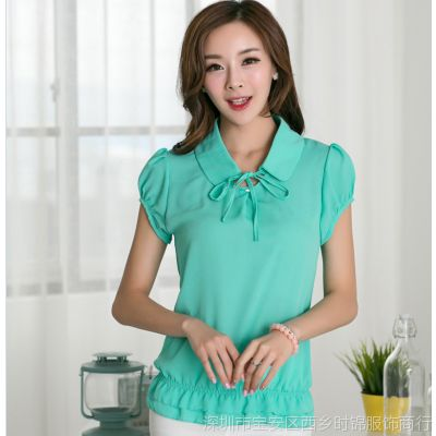 供应欧洲站夏装新款2014韩版雪纺衫 女式短袖打底衬衫上衣