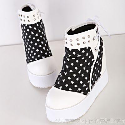 厂价直销 欧美秋冬厚底内增高柳钉高帮鞋 黑白搭配坡跟女鞋