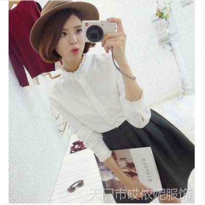 韩国东大门代购 复古立领长袖打底衫 韩版白色衬衫 女式衬衣女