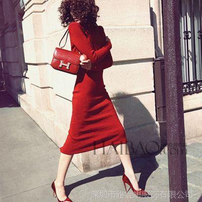 2015秋冬装新款 欧美优雅名媛时尚气质红色修身包臀长袖款连衣裙H