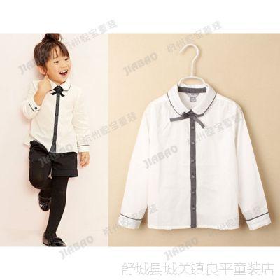 14夏款  女童长袖衬衫 儿童白衬衣 外贸童装批发4A0208