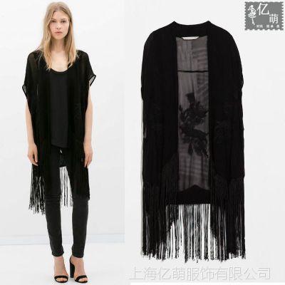 2014夏季女装新款 欧美风 流苏刺绣中长款女式背心外套3964