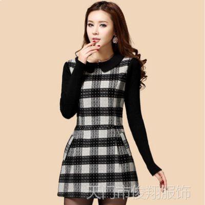 2014新款韩版大码修身娃娃领A字短裙打底裙格子羊毛呢长袖连衣裙