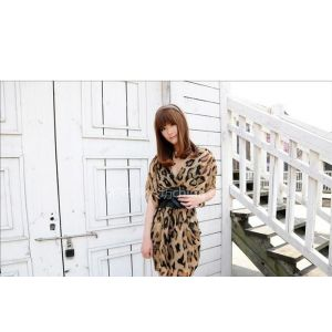 供应2011新款韩版特价夏装 豹纹雪纺 短袖中腰V领连衣裙 AJL01043