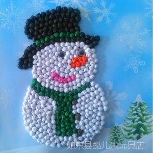 供应圣诞小雪人搓纸画 创意手工制作 DIY手揉纸贴画 益智玩具批发