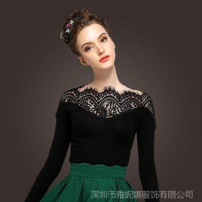 2014秋冬新款欧美范女士时尚百搭长袖打底衫蕾丝拼接大码T恤小衫R