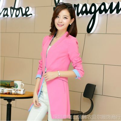 2014秋装新款韩版百搭修身小西服外套 中长款修身品牌女式小西装