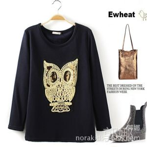 供应【下架】EwheatMA078 秋冬新款猫头鹰亮片植绒打底衫 绒衫