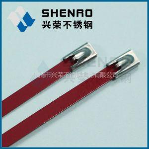 供应兴荣彩色喷塑(红色)不锈钢扎带 涂塑 喷塑自锁式不锈钢扎带 装饰用