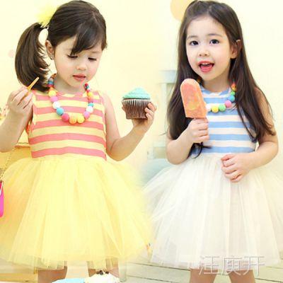 2014夏装新款韩版女孩条纹纱裙子新手加盟全程指导免费一件代发