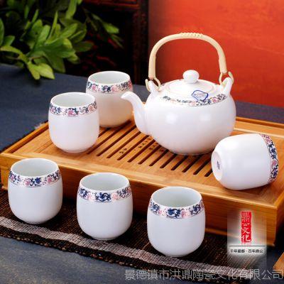 陶瓷景德镇瓷器茶具 高档家用7头蓝藤花整套陶瓷茶具套装送礼佳品