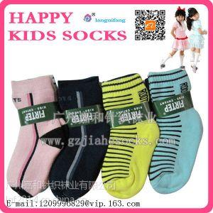 供应兰桂坊全棉儿童加厚毛巾点胶袜 外贸卡通男女儿童保暖毛圈袜子批发