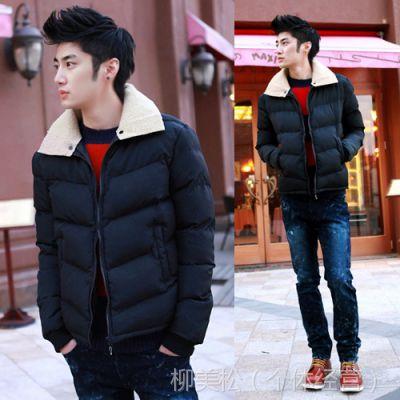 供应2014年新款可脱卸帽外套 韩版拼接保暖男式棉服 男士棉衣批发