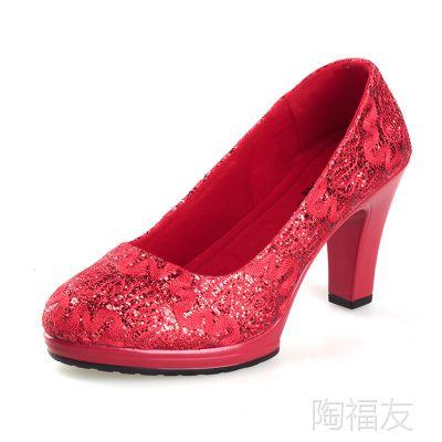 新娘鞋贵族女人鞋老北京布鞋红色花纹高跟鞋 时尚休闲结婚女单鞋