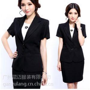 供应实拍免烫女黑色修身OL职业套装短袖一步裙两粒扣韩版西装