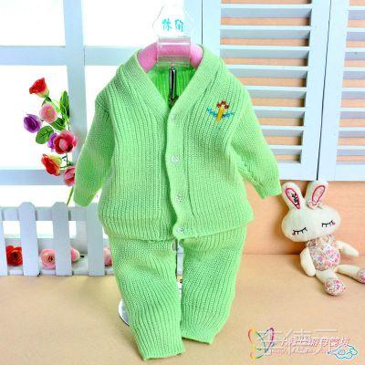 批发童毛衣 婴儿纱衣套装 新生儿纱线衣 宝宝开衫毛衣两件套