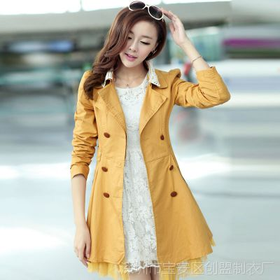 秋装新款百搭女式风衣韩版女装外套 双排扣修身秋冬风衣