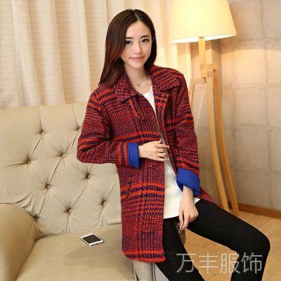 秋冬新款女装 韩版宽松呢子大衣韩国红色格子毛呢外套