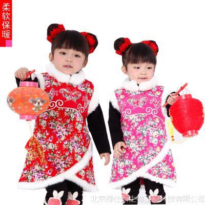 一件代发 纯棉女童旗袍裙儿童小礼服 童乐谷 宝宝旗袍 儿童复古裙