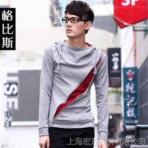 供应2013新款秋冬季潮流男士修身百搭打底衫 韩版男装带帽长袖T恤衫
