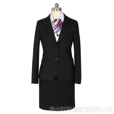 品牌厂家定做批发秋冬新款黑色商务职业西服套装女高档女士职业装