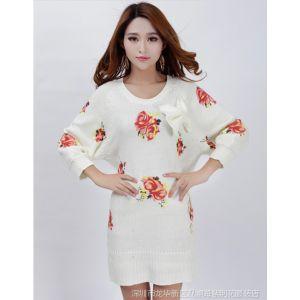 供应2013新款民族风秋冬装毛衣白色玫瑰印花蝙蝠针织连衣裙 打底衫