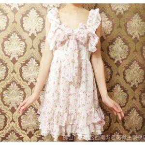供应2014春夏新款 甜美时尚公主风碎花韩版蝴蝶结吊带女式连衣裙L042