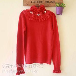 供应2013新款韩版高领长袖女装秋冬蕾丝修身针织衫百搭打底衫女士毛衣