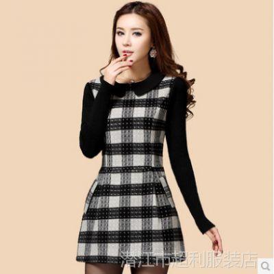 2014新款韩版大码修身A字短裙打底裙格子羊毛呢长袖连衣裙秋冬潮