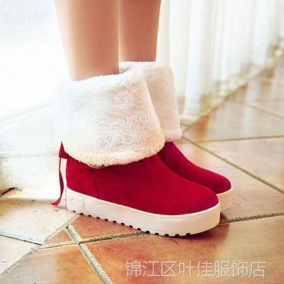 新款雪地靴 平跟圆头内增高女靴子中筒靴舒适多穿小矮靴