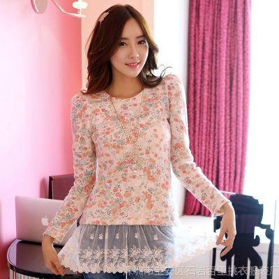 韩国代购2014装韩版新款性感花卉打底衫修身圆领长袖蕾丝衫女衬衫