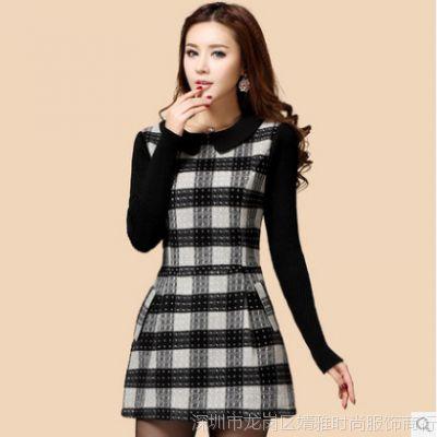 新款韩版大码修身A字短裙打底裙格子羊毛呢长袖连衣裙