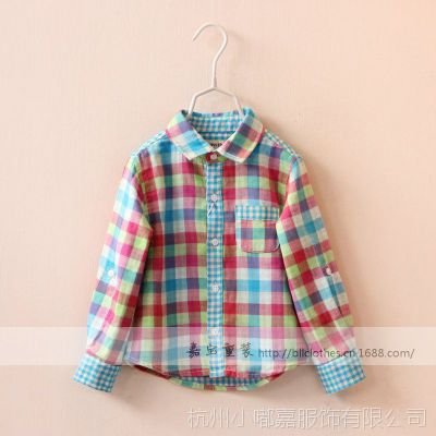XD10487xc~单口袋 彩色格子 纱质 衬衫 童装批发